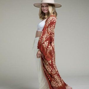 Ruggine Damask Print Kimono